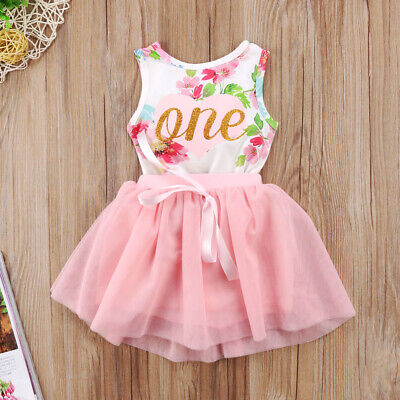 USA Baby Girl 1st Birthday Party Dress Floral Romper Tutu Skirt Outfit - Girls First Birthday Party