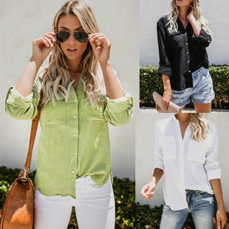 Womens Cotton Linen Long Sleeve Tops Lady Button Down Casual Blouse Shirt S-2XL