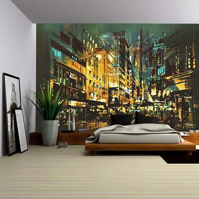 Wall26 - Night Scene Cityscape Abstract Art Painting - CVS - 100x144 inches