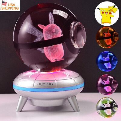 Pikachu Gifts (Crystal Pokemon Pikachu 3D LED Night Light Table Lamp Crafts Best Gift)