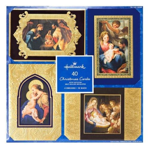 Brand New Hallmark 40CT Holiday Cards - 4 Designs - 10 Each - Self Sealing