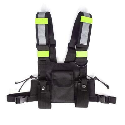 3 Pocket Pack Bag Radio Chest Harness W Reflective Stripe Walkie Talkie Holster
