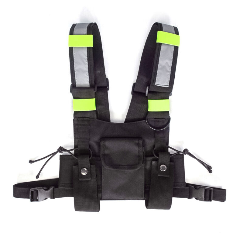 3 Pocket Pack Bag Radio Chest Harness w/ Reflective Stripe Walkie Talkie Holster