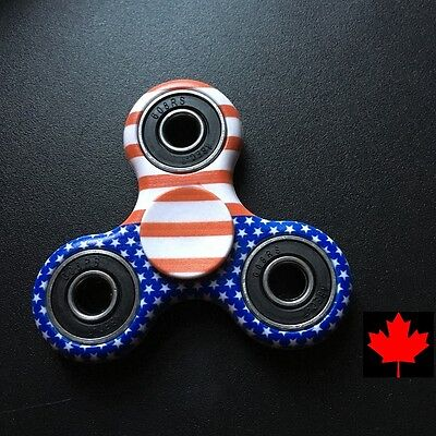 Fidget Tri Spinner EDC Stress Relief Focus Fun Toy - USA Flag Stars & Stripes