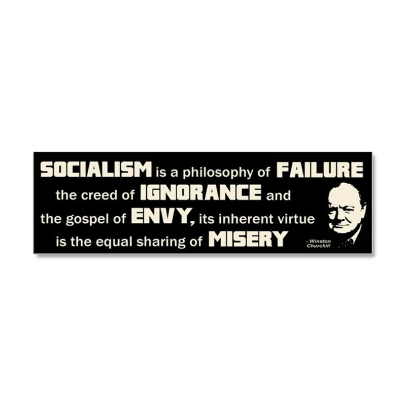 CafePress Churchill Socialism Quote Car Magnet (586139150)