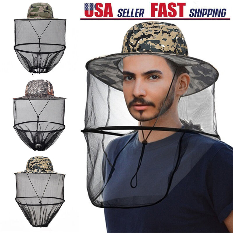 Fishing Anti-Mosquito Bug Bee Insect Head Net Hats Mesh Face Sun Protection Caps