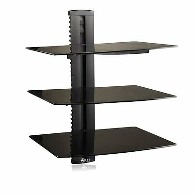 3 Tier Glass Wall Shelf Shelves Electronic Players Organizer DVD Game Console - Glass Shelves Electronic