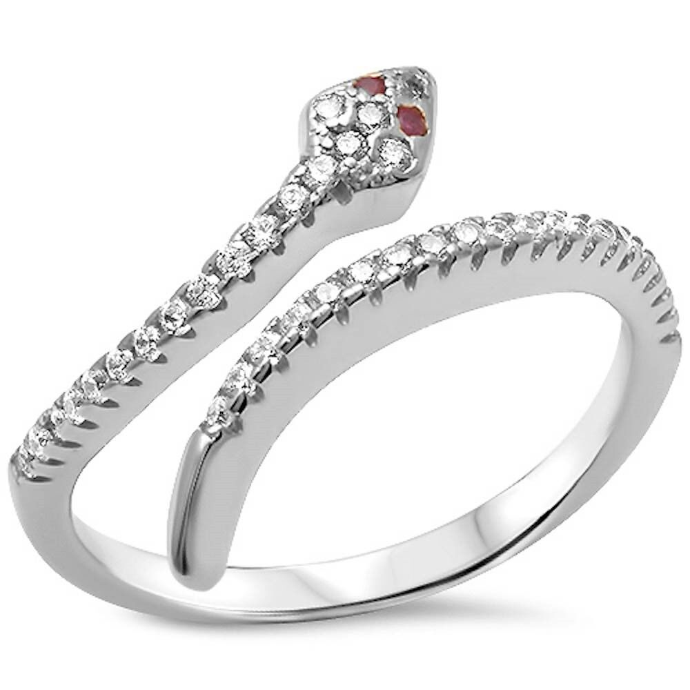 Cubic Zirconia & Ruby Eyes Snake .925 Sterling Silver Ring S