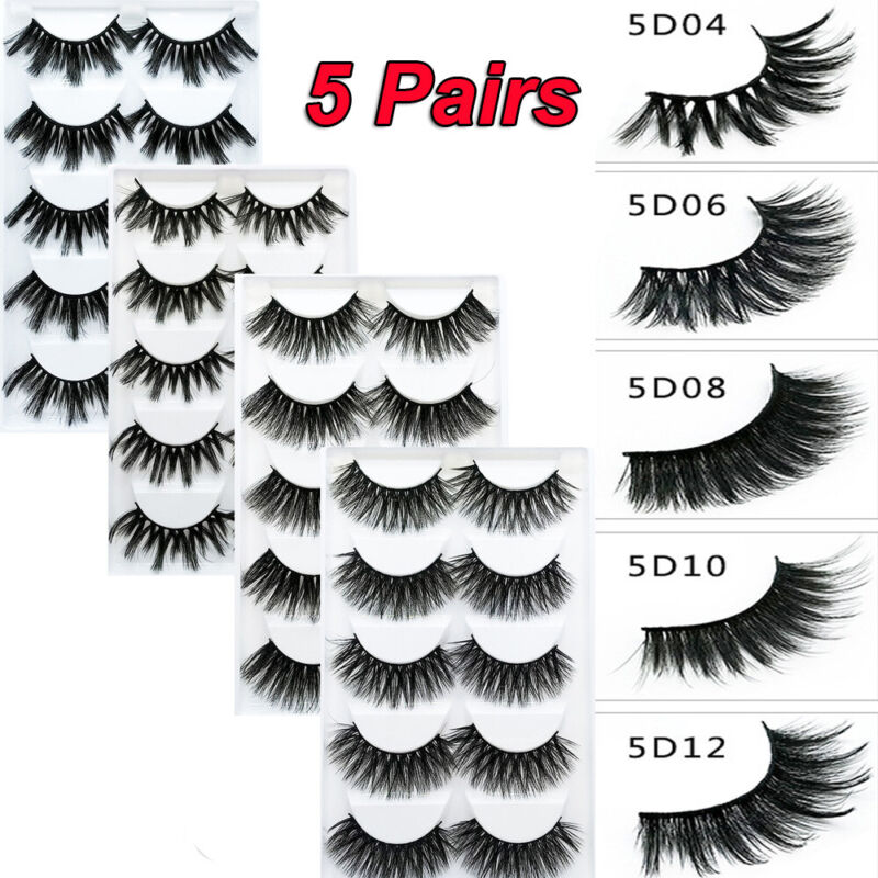 SKONHED 5 Pairs 20MM Mink Hair False Eyelashes 3D Natural Th