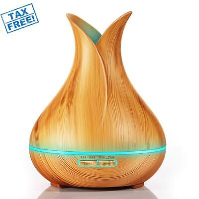 Wood Grain Ultrasonic Aromatherapy Essential Oil Diffuser Quiet Humidifier 400ml