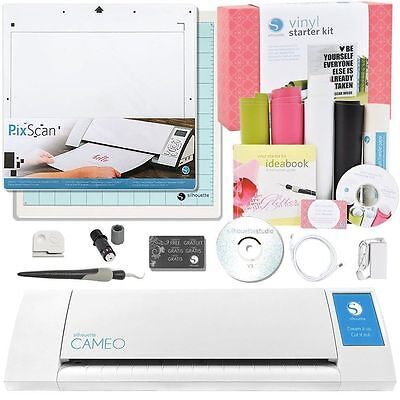 Silhouette CAMEO V2 Digital Cutting Machine Vinyl and Tools Starter Kit Bundle