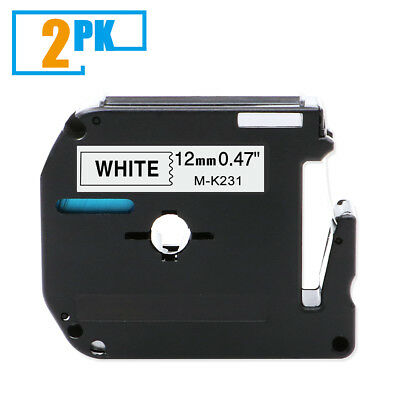 2pk M-k231 P-touch Label Tape Compatible For Brother P-touch Label Maker 12mm