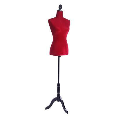 Red Female Mannequin Torso Dress Form Display Tripod Stand Red