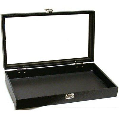 Jewelry Showcase Display Case Glass Top Portable Travel Box Black New