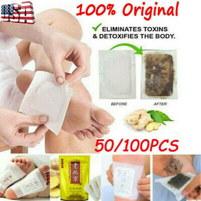 100 PCS Premium Ginger Detox Foot Pads Patch Herbal Cleansing Detox Pads 2020