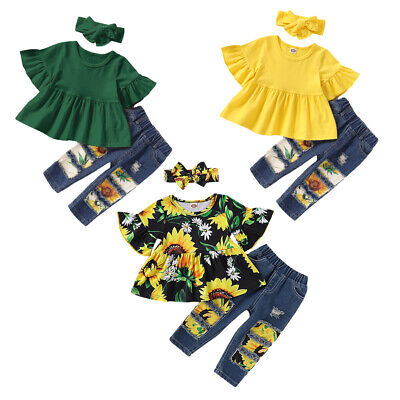 2PCS Kid Baby Girl T-Shirt Tops + Jeans Denim Pants Summer Clothes Outfits Sets