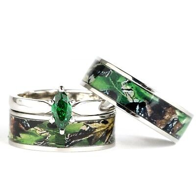 Camo Ring Set (His & Hers Camo Green Marquis Stainless Steel & Sterling Silver Wedding Ring)
