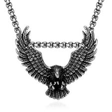 Mens Stainless Steel Box Link Chain 3D Flying Eagle Pendant Necklace