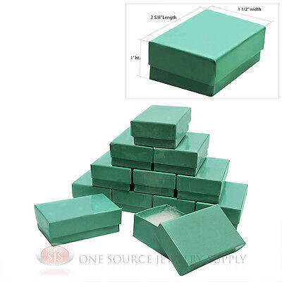 12 Teal Blue Cotton Filled Gift Boxes 2 58 X 1 12 Pendant Jewelry