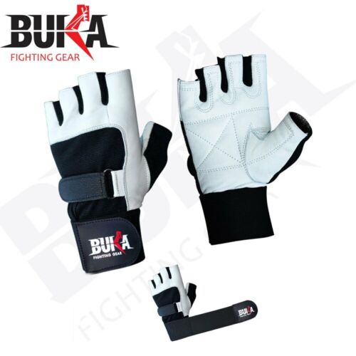 BUKA WEIGHT LIFTING GYM GLOVES BODY BUILDING WORKOUT COWHIDE LEATHER NEW WHITE