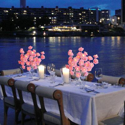 24 LED Flower Rose Tree Table Lamp Night Lights Home Bedroom Decor Desk - Led Lights Table Decorations