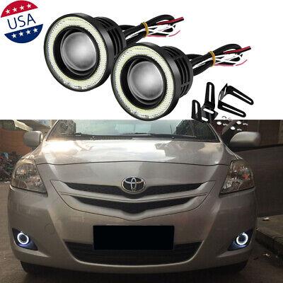 "2x 2.5"" Car COB LED Fog Light Projector Angel Eye Halo Ring DRL Driving Bulbs"