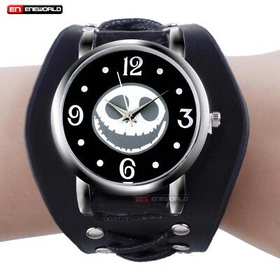 Gothic Skull Punk Black Leather Dial Quartz Bracelet Sport Wrist Mens Watch Gift