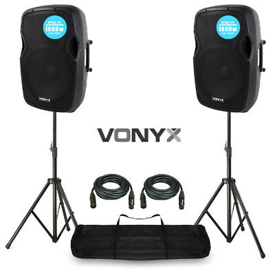 "2x V-AP15A V3 Active PA Speaker 3200W 15"" DJ Disco Sound System with Stands"