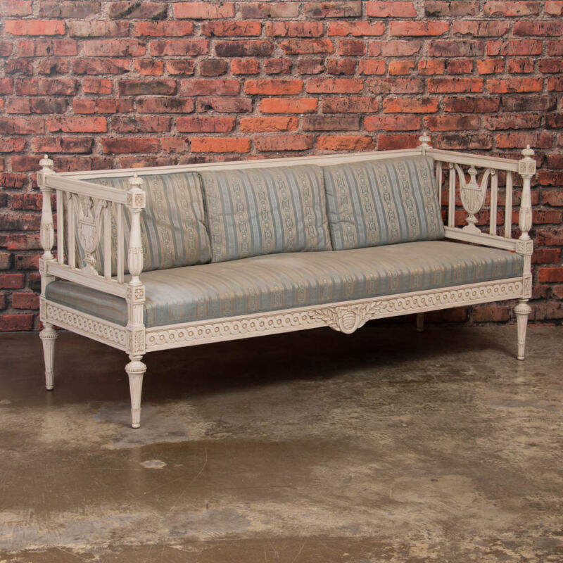 Antique Swedish Gustavian Bench Painted White