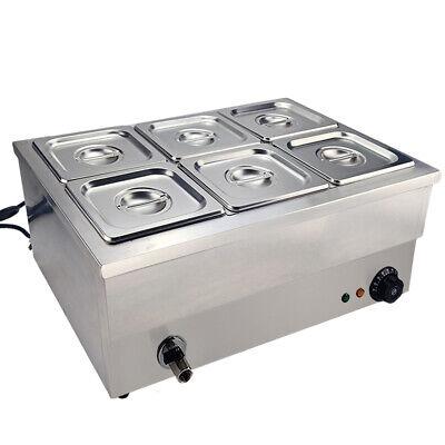 Commercial Bain Marie Buffet Warmer 6 Pans Steam Table Food Warmer Countertop