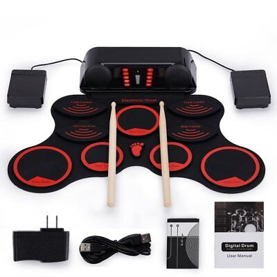 Electric Drum Set Portable Roll Up Snare Pad Loud Speakers Foot Pedal Recharge