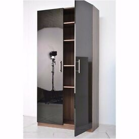 Darwin Walnut & Black High Gloss Tall Double Storage Cupboard