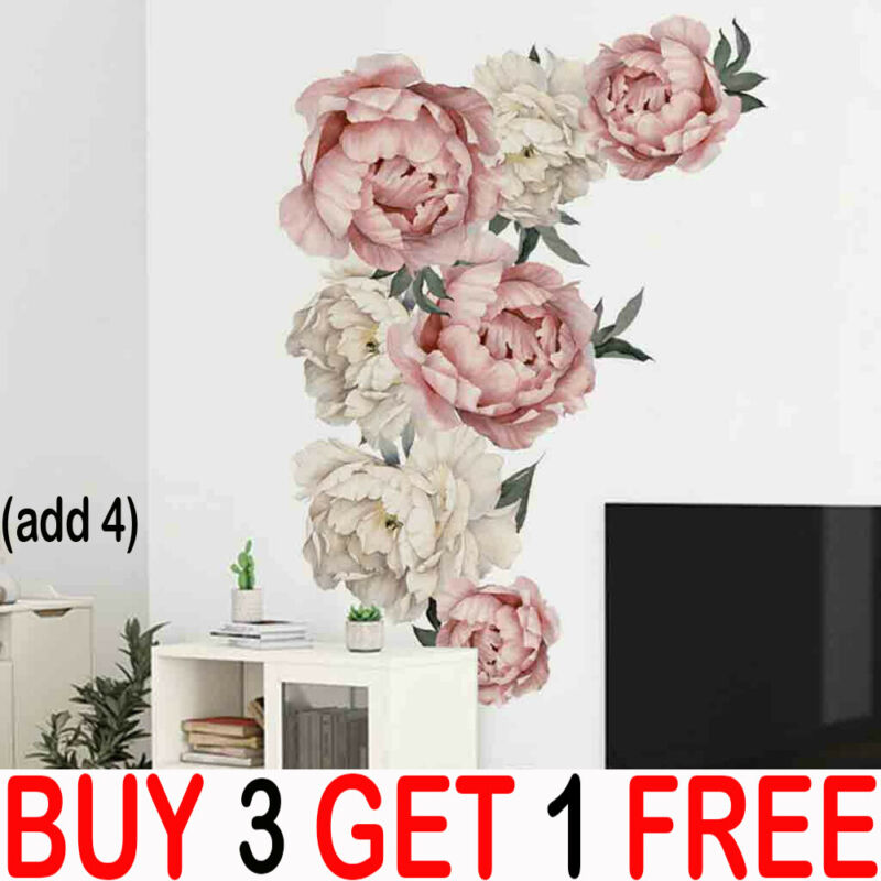 Home Decoration - Large Peony Rose Flower Art Wall Sticker Living Room Home Background DIY DecalYY