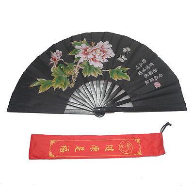 "13"" Tai Chi Martial Arts Kung Fu Bamboo Fan Black Dance Pratice Folding Peony"