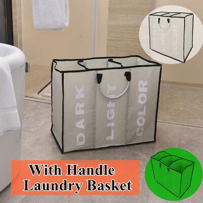 3 Sorter Laundry Hamper Dirty Clothes Storage Basket Bin Organizer Washing Bag ()