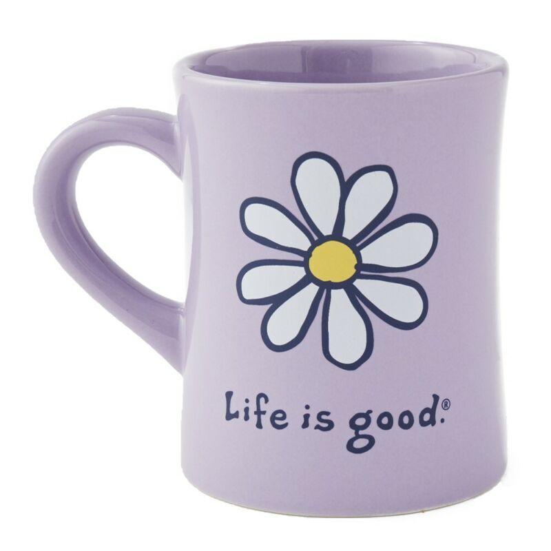 Life is Good. Diner Mug Vintage LIG Daisy, Moonstone Purple
