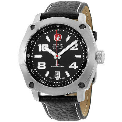 Wenger Swiss Military Black Dial Black Leather Strap Men's Watch 79375