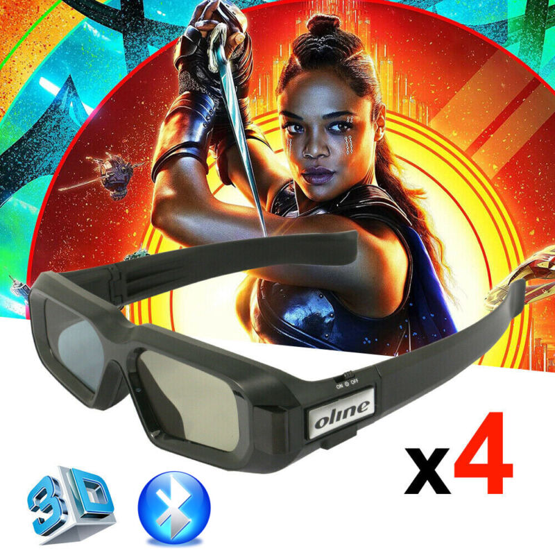 4x Bleutooth Active Shutter 3D Glasses for Epson Projector TW8100 Samsung 3D Tvs