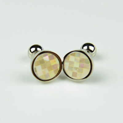 Circle White Pearl Check Smart Cool Cufflinks Only 5 Pairs For Promotion  Circle White Cufflinks