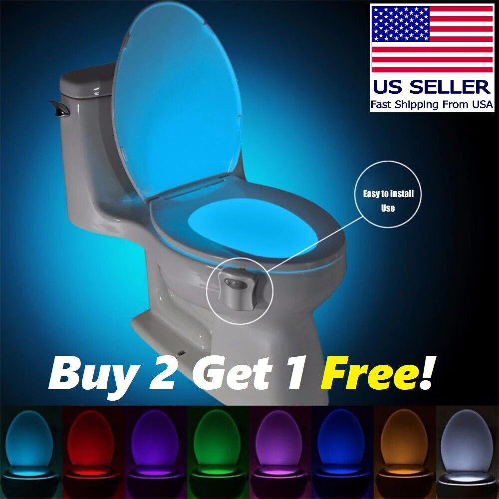 Bowl Bathroom Toilet Night LED 16 Col Lamp Sensor Lights Motion Activated Light