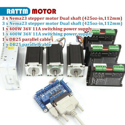 3 Axis Controller Kit Nema23 425oz-in280ncm Dual Shaft Stepper Motor3p Drivers