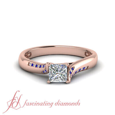 Affordable Engagement Ring With 0.65 Carat Princess Cut Diamond & Sapphire GIA