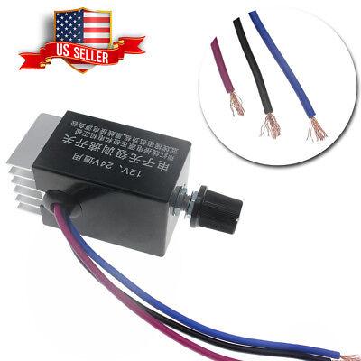 1pcs Dc 12v 24v Motor Speed Controller Switch For Car Truck Fan Heater Control