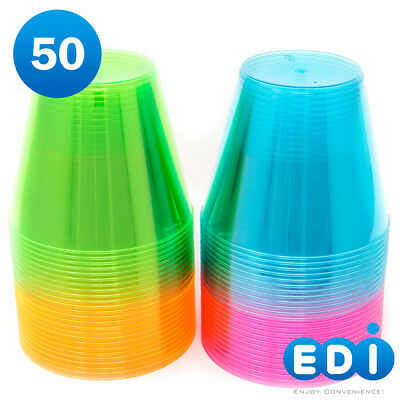 EDI 9 oz Party Cups, Beverage Tumblers in Assorted Neon Color](Color Plastic Cups)