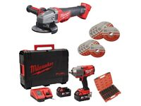 """Milwaukee M18ONEFHIWF12-502x ONE KEY Fuel 1/2"""" Impact Wrench Kit + M18CAG115 FUEL Angle Grinder"""
