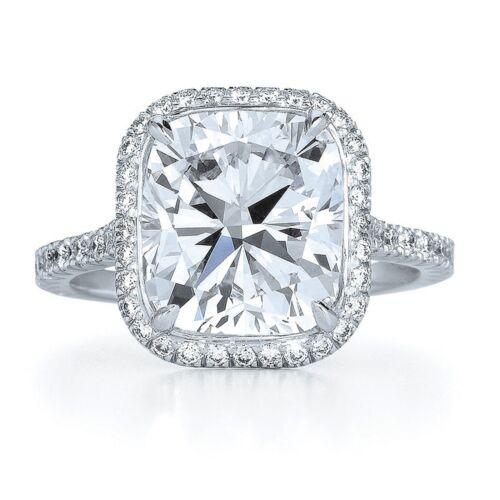 Cushion Cut Diamond Engagement Ring 4.21 Carat GIA Certified 18k White Gold