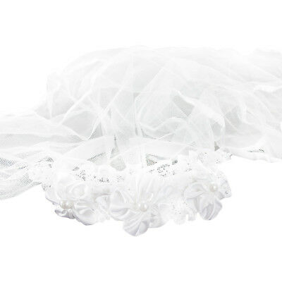 Haarreifen mit Brautschleier Blumen und Perlen JGA Hochzeit Schleier Weiß ()