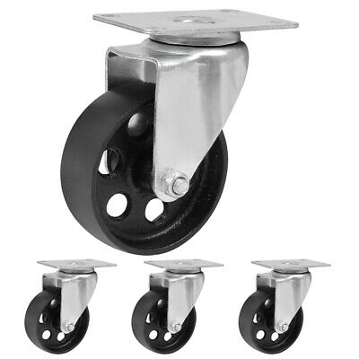 4 Pack 3 3.5 Iron Caster Wheels Swivel Ball Bearing Steel Steel Top Plate