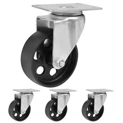 4 Pack 3 3.5 Iron Caster Wheels Swivel Ball Bearing Steel Steel Top Plate