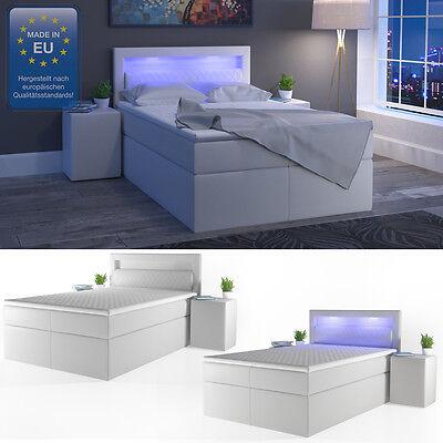 Design Boxspringbett LED Doppelbett Bett Hotelbett PU/Leder 140x200 cm weiß